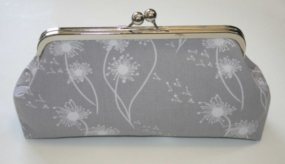 Clutch Purse Gray with White Dandelion handbag