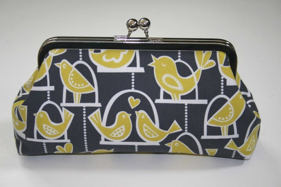 Clutch Purse Yellow Citron and Gray Swinging Love Birds Bridesmaid Clutch