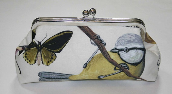 Bridesmaid Clutch Ivory Yellow Grey French Wing Study Clutch Purse