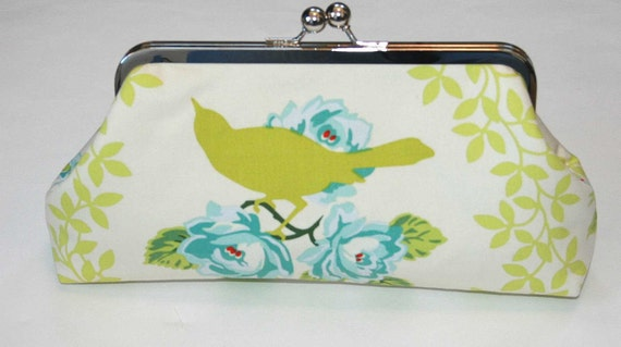 Bridesmaid Clutch Purse Chartreuse Bird Blue Roses on Ivory