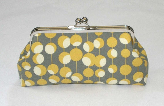 Snap Clutch in Yellow Gray Martini