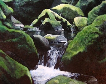 The Mystical waterfalls of Sequim, ORIGINAL painting by Craig Williams