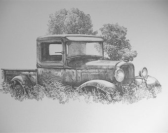 32 Ford pickup pencil drawing print, by C.P. Williams