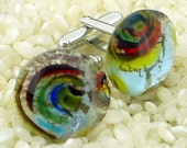 Fused Glass Cufflinks ..Circular Button Cabochons - Silver Tone T-Bar Fittings .. Gift Boxed