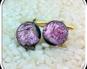 Dichroic Glass Button Cufflinks- Gold Tone T-Bar Fittings