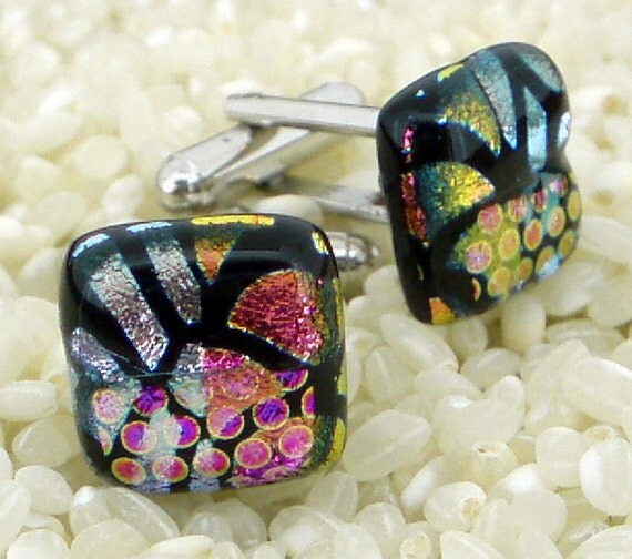 Colourful Dichroic Glass Cufflinks on Silver T Bar Fittings-  Funky