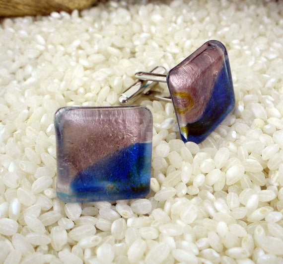 Fused Glass Cufflinks .. Shimmering Squares.. Dusky Pink Purple Blue Shimmer - Silver Tone T-Bar Fittings - Gift Boxed
