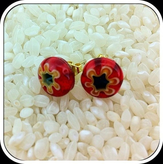 Millefiori Glass Stud Earrings .. Gold Tone Posts.. 10mm .. Scarlet Red with a Yellow Flower