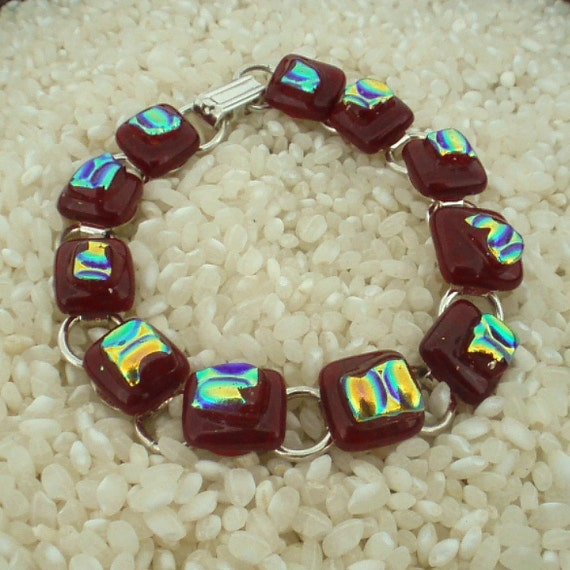 Dichroic Glass Bracelet Deep Blood Red with Rainbow Detail .. Silver Plated Fitting