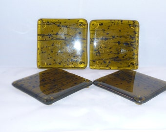 Green fused glass coasters set of 4