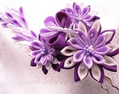 Eggplant and Lavendar Fabric Flower Prong Set
