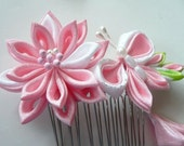 Pink Lily And Butterfly - Fabric Flower Hair Comb