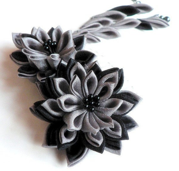 Shadow -- Fabric Flower Comb in Kanzashi Style -- Made To Order