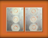 Serene Circles...LARGE  Original Abstract Contemporary Modern Bird Art Diptych Painting by HD Greer