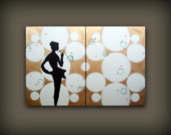 LARGE Personalized Decor Custom Painting Original...Art Commission...Contemporary Modern Personalized Art Diptych Painting by HD Greer