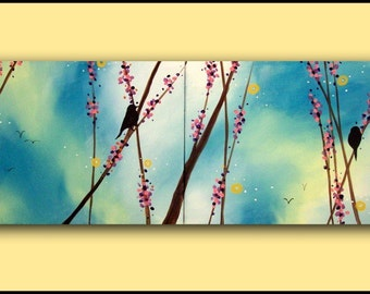Original Large Contemporary Art Painting...Berry Repose...HUGE  Abstract Modern Bird  Diptych Painting by HD Greer