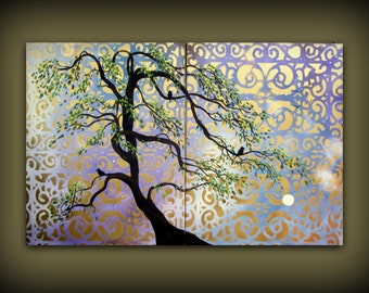 Purple and Gold Willow Tree Painting...HUGE Large Modern Art Diptych Painting by HD Greer