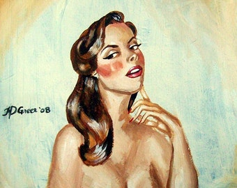 Custom Portrait Painting. Art Commission. Personalized Pin Up Style Painting Mid Century Inspired Art