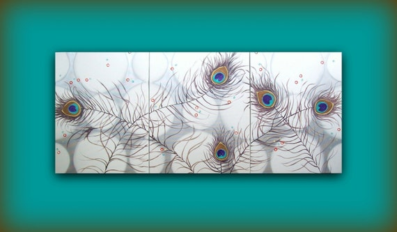 Personalized Decor...Made Just for You Custom Painting..Abstract Contemporary Modern Art Triptych Multi Panel Painting by HD Greer