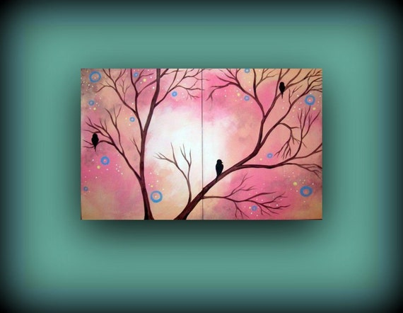 Coral Pink Painting with Bird on a Limb...Abstract Contemporary Modern Art Diptych Painting by HD Greer