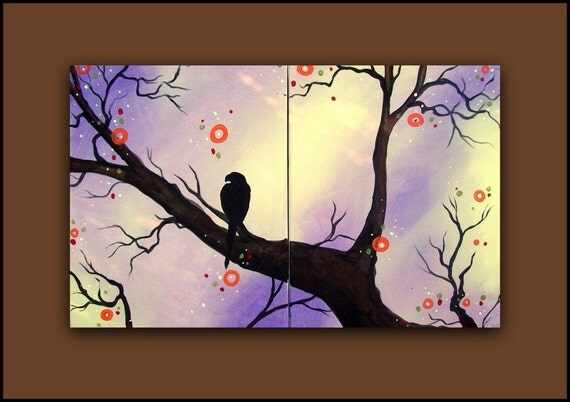 Purple Original Painting of a Bird on a Branch...HUGE  Abstract Contemporary Modern Art Diptych by HD Greer