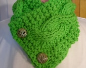 Xtra Warm Double  Knit Cable Scarf    Apple  Green gold buttons