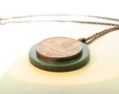 Vintage 1978 French Coin and Button Necklace with Brass Chain