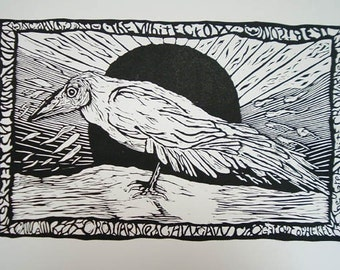 The White Crow (relief print)