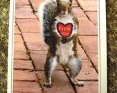 Squirrel Heart Valentine Card
