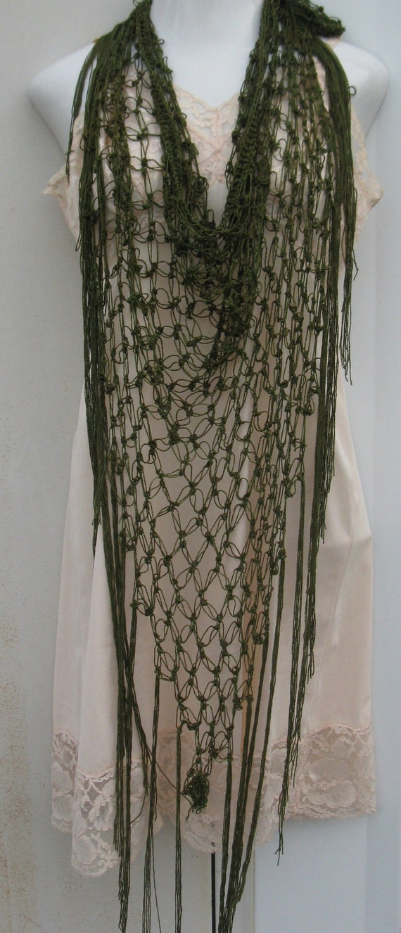 Olive green Boho- chic triangle shawl made from bamboo yarn