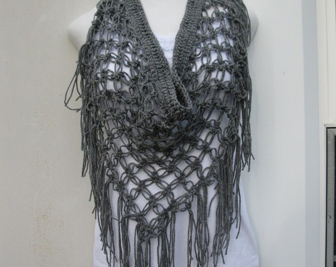 CROCHET FRINGE SCARF/ Gray scarf/ boho fringe scarf/ Crochet beach cover up/ sarong, scarf, gypsy, festival clothing, hippie, bohemian boho