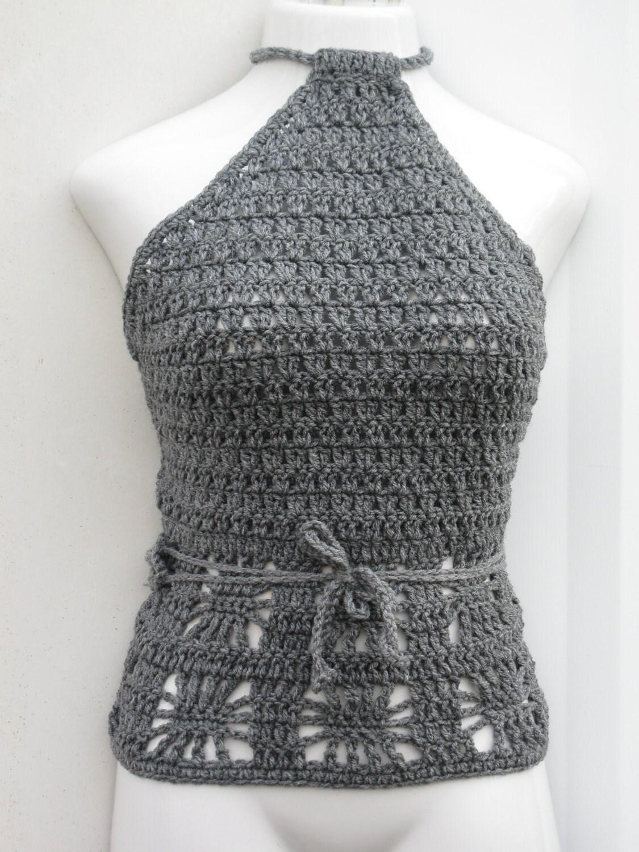 Boho fringe crochet tank top halter top tankini bralette  Crochet Halter Tank Top