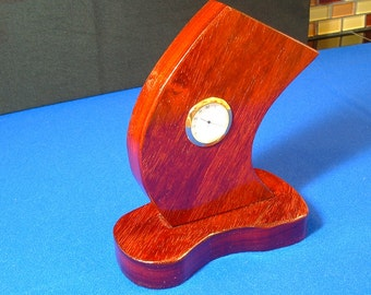 Desktop or tabletop clock handcrafted from solid,highly figured exotic hardwood, free shipping shipping