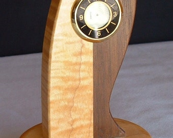 solid hardwood desk or table clock