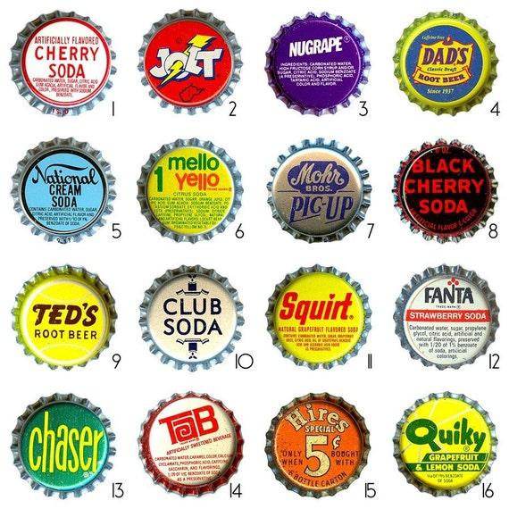 Super sale vintage bottle cap magnets make your own mix for Bottle cap designs