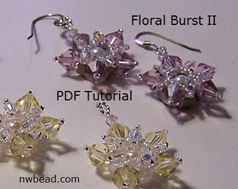 Tutorial, Floral Burst II, Earrings, Swarovski - Instant Download