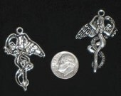 Silver Winged Fairy \/ Angel with serpent Charms - 4 pieces - Large 1.5 inches