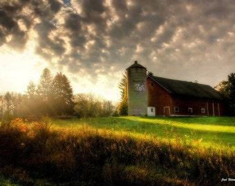The Lighted barn Fine Art Photograph - Home Decor