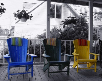 Splash of Color Fine Art Photo , Chairs, Fish Creek Wisconsin - Home Decor