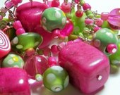 Hot Pink and Green Dangle Bracelet