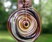 Raku Glass Disc and Copper Necklace Handmade by Melissa Mesara