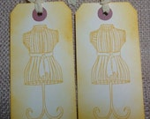 Half Price All Items - Hand stamped Mannequin Dress Form Vintage Inspired Hang Tags Set of 6 Yellow