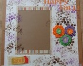 "SALE-- ""HAPPY FALL"" 12"" X 12"" One Page Premade Scrapbook Layout"