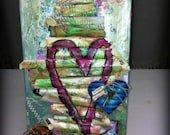 "Mixed Media 6"" x 12"" Canvas Rolled Dictionary Paper Heart Collage"