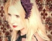 Bridal Hair Piece - Hair Accessories - Bridal Accessories - Purple - Lace - Velvet- Bohemian - Vintage