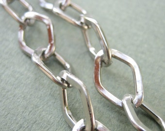 Rhodium plated romboid  chain  3.3 ft / 1 meter