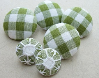 Fabric Covered Buttons -  Embroidered Gingham - 6pc