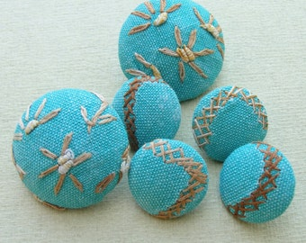 Fabric Covered Buttons - Vintage Hand Embroidered Cotton - 6pc