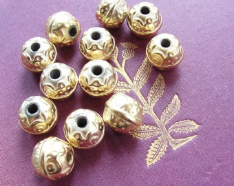 Gold plated beads  12pc