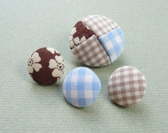Fabric Covered Buttons - Gingham Patchwork - 4pc